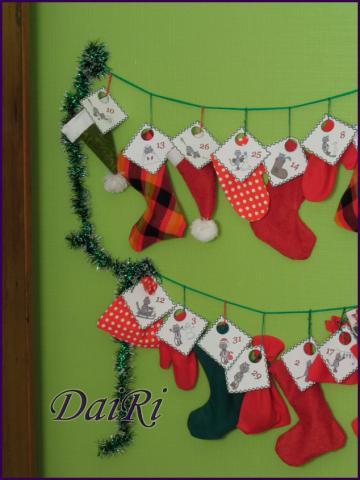 Адвент календарь. Рождественские носки, шапки, рукавички, мешочки