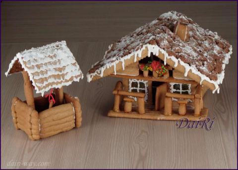 Пряничный славянский домик - изба с колодцем. Gingerbread, cake
